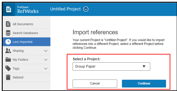 Import references to a project.