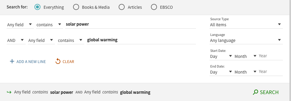 screenshot of the advanced search box with the terms solar power and global warming.