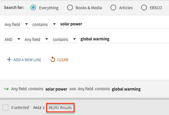 Screen shot of the advance search with the terms solar power and global warming. The number of results 98,091 is circled in red.