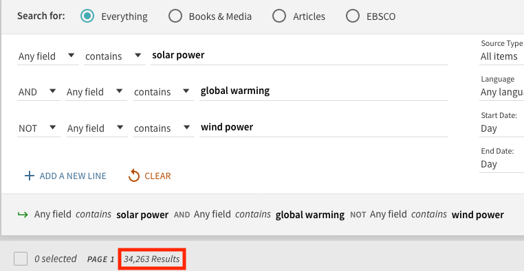 screenshot of the advanced search with the terms solar power and global warming not windpower