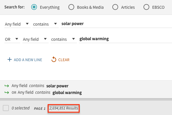 Screen shot of the advance search with the terms solar power and global warming. The number of results 2,694,851 is circled in red.
