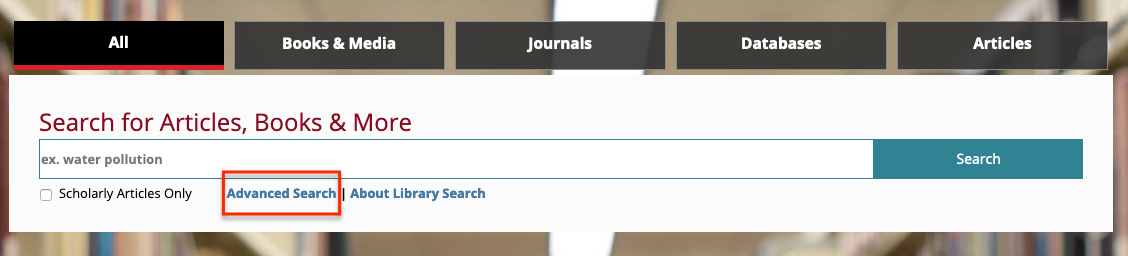 Screenshot of the All search box on the library's homepage. Below the search box is the link Advanced Search which is circled in red.