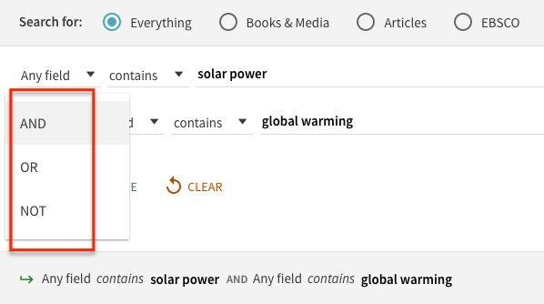 screenshot of advanced search with the terms solar power and global warming. AND OR NOT appear in a dropdown for the user to select