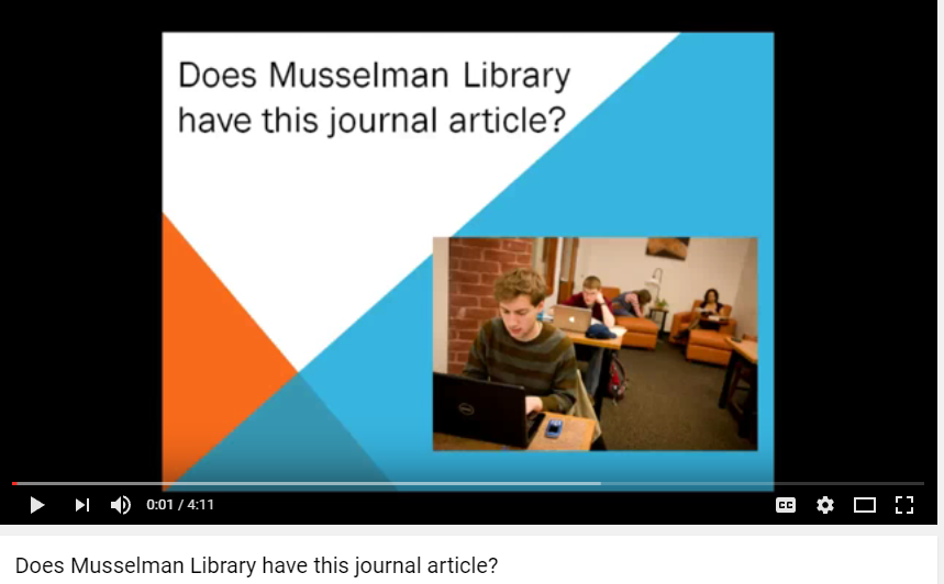 Finding a Journal Article in Musselman Library