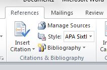 Closeup of Microsoft Word references ribbon and the insert citation button