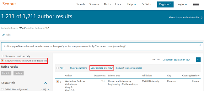 Author results page in Scopus
