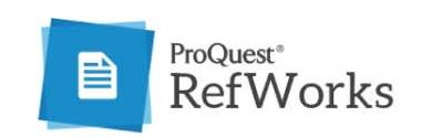 blue background with white document logo for ProQuest RefWorks