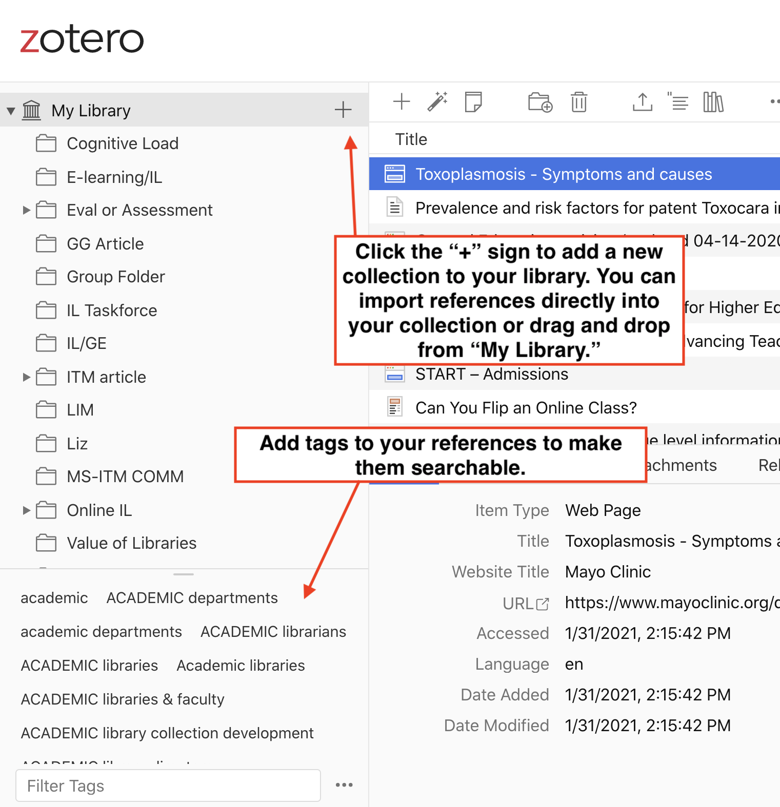 Organizing your Zotero Library