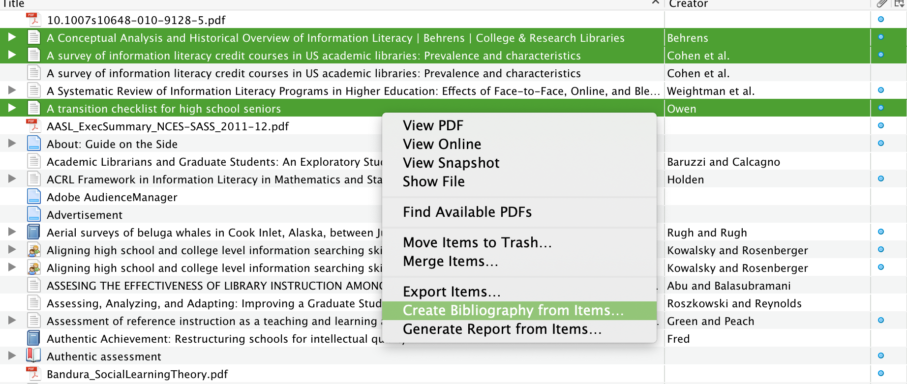 exporting a bibliography