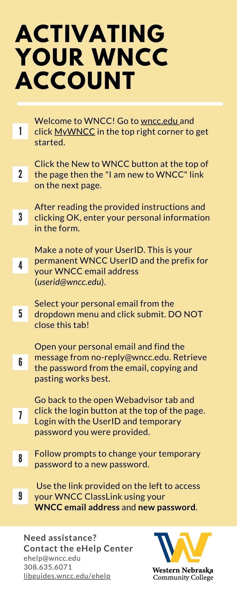 Activating your WNCC Account Instructions Image