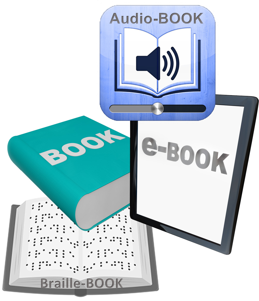 icon displaying books, electronic, audio and braille books