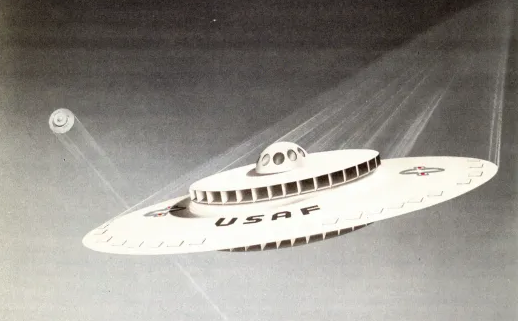 saucer shaped aircraft with U.S.A.F. written on it