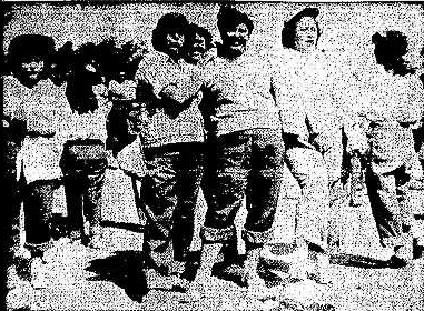 Women on the pick line, image from New Mexican August 15 1951