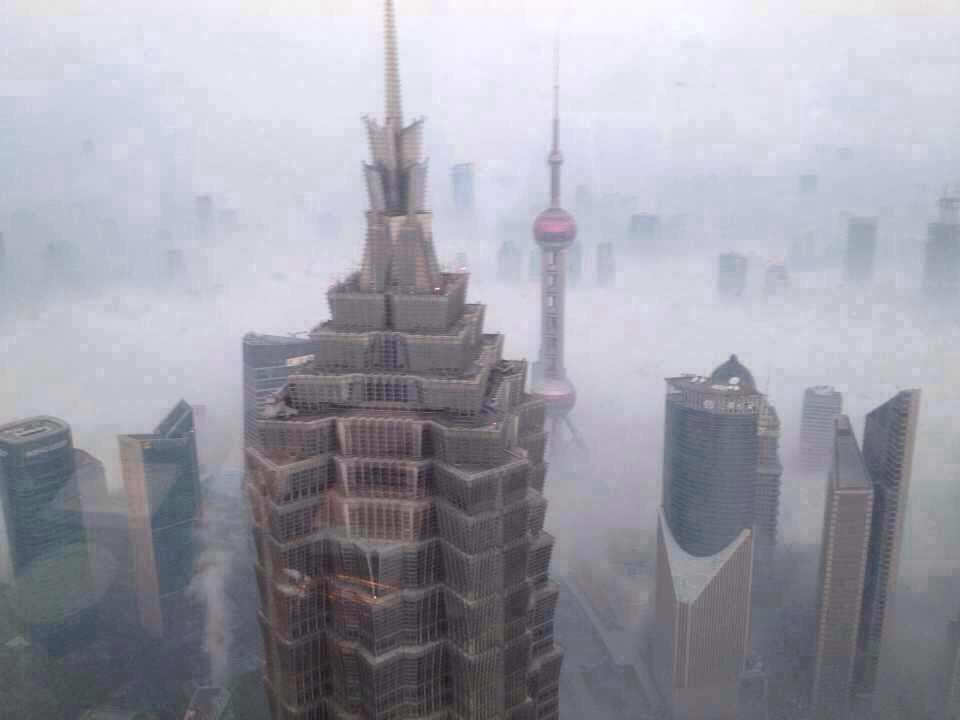 The skyline disappears in the smog of Shanghai, China