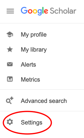 Screenshot of Google Scholar menu showing location of Settings link