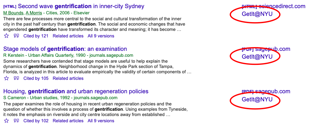 Screenshot of Google Scholar search results page showing that Getit@NYU links now appear next to each result