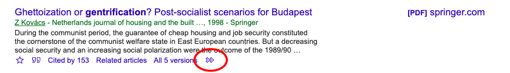 Screenshot of a single Google Scholar search result showing location of double-arrow button