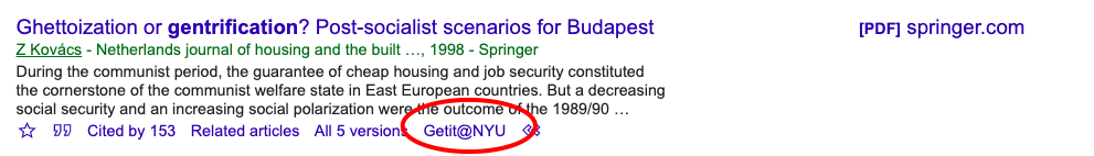 Screenshot of same Google Scholar result showing that GetIt@NYU link appears after clicking double-arrow button