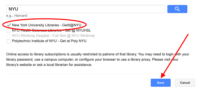 "Screenshot of Library Links search box showing a search for NYU, and only the box next to ""New York University Libraries Getit@NYU"" is checked"