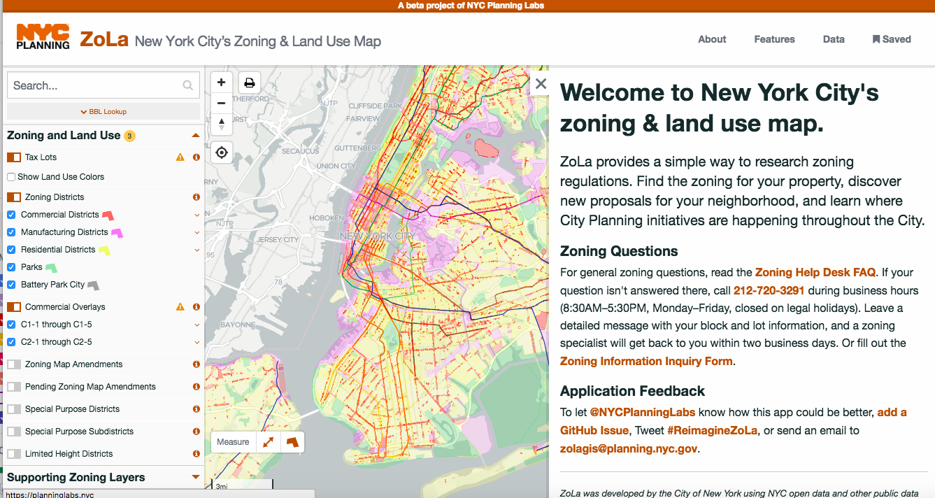Screenshot of NYC Planning Department's zoning & land use map (ZoLa).