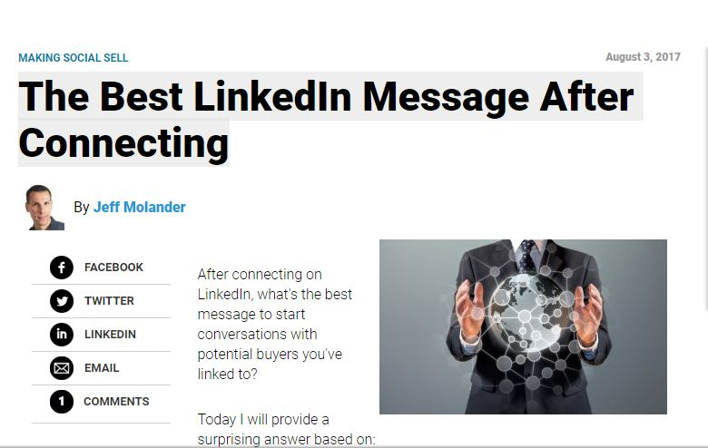 The Best LinkedIn Message After Connection