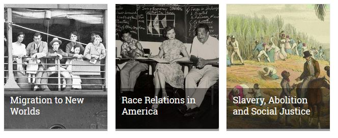 This shows the tile images for three collections: Migration to New Worlds, Race Relations in American and Slavery, Abolition and Social Justice