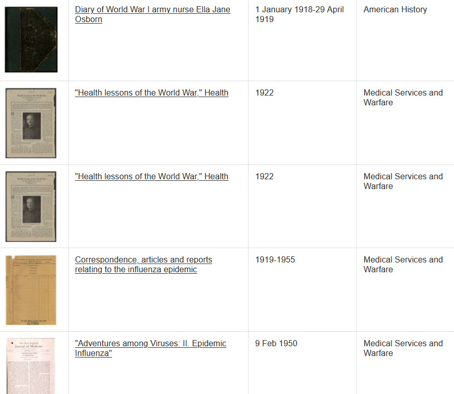 Lists 5 thumbnails with the title, date and collection for each thumbnail.