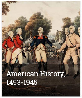 """Tile stating """"American History - 1493-1945"""" with a picture of revolutionrary soldies."""