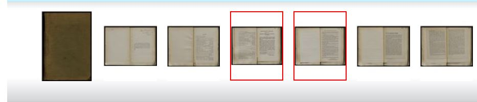 This image shows thumbnails the cover and 6 pages of a book, with two pages highlighted with red boxes.