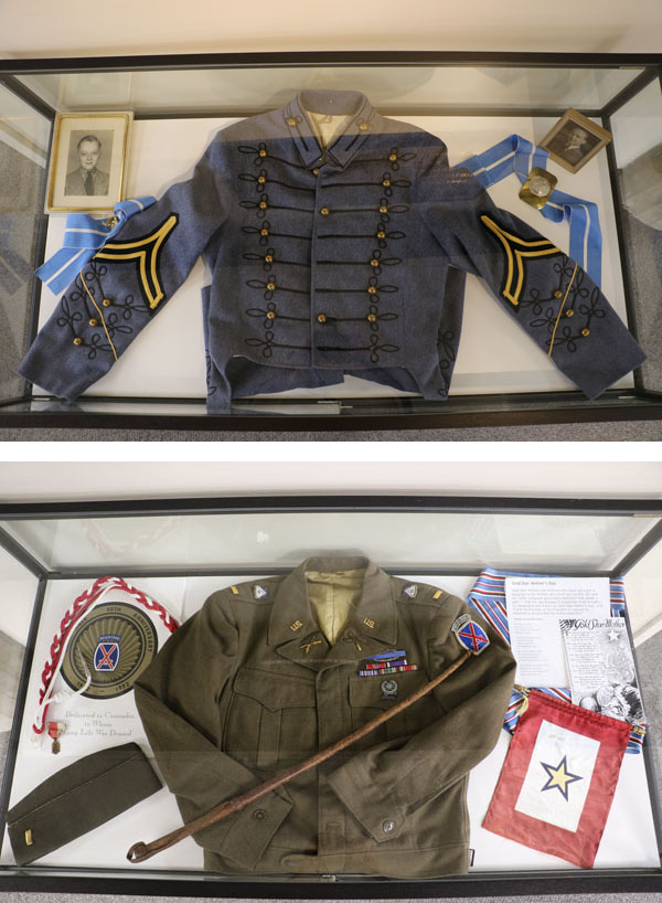 Top -- PMC Uniform and Photographs Bottom -- Regular Army Uniform and 10th Mountain Division Information