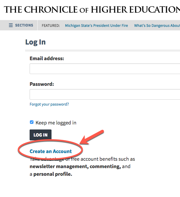 Create an Account link on Chronicle login screen