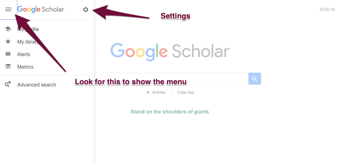 Google Scholar Settings cog