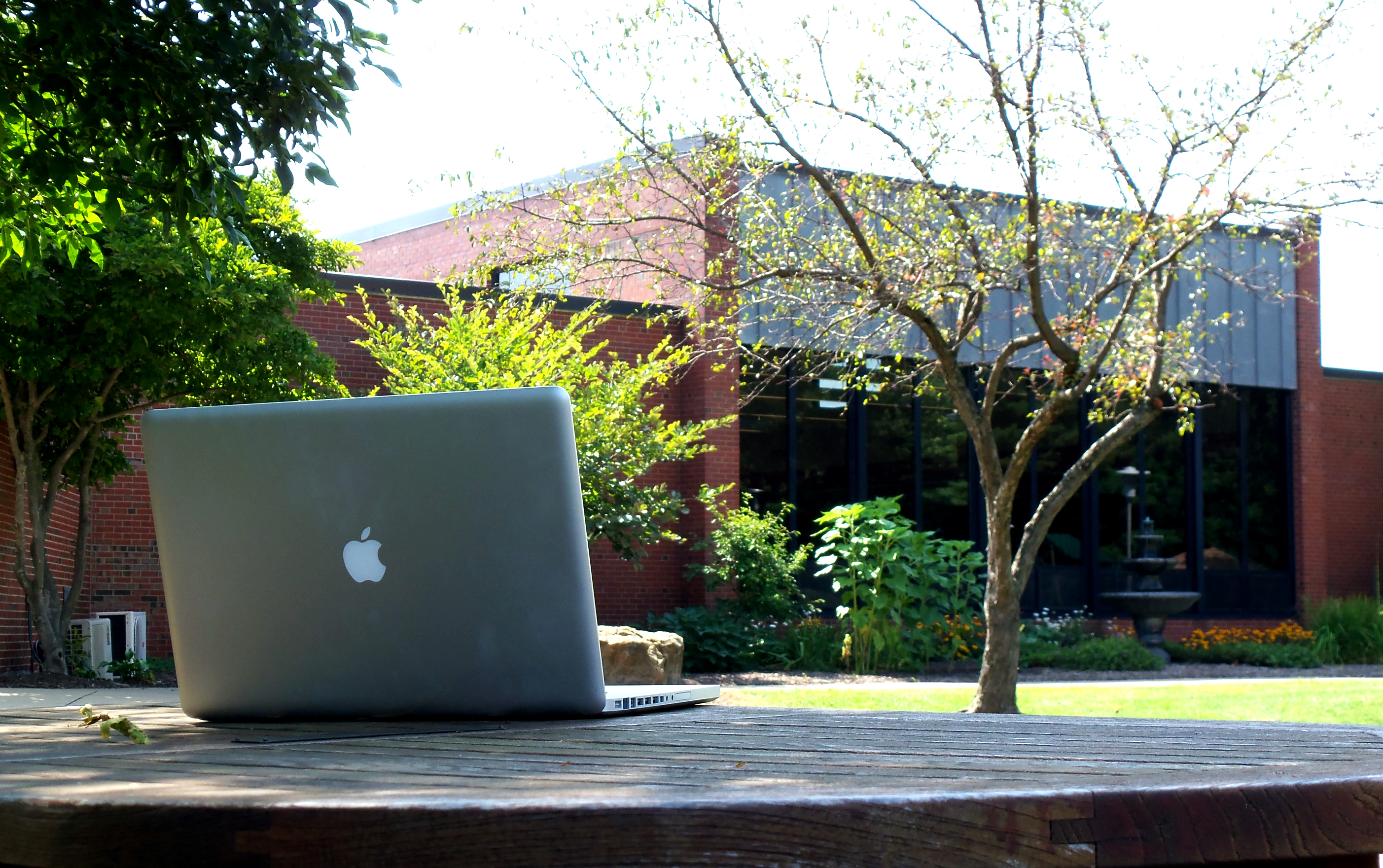 reeves hall with MacBook in foreground