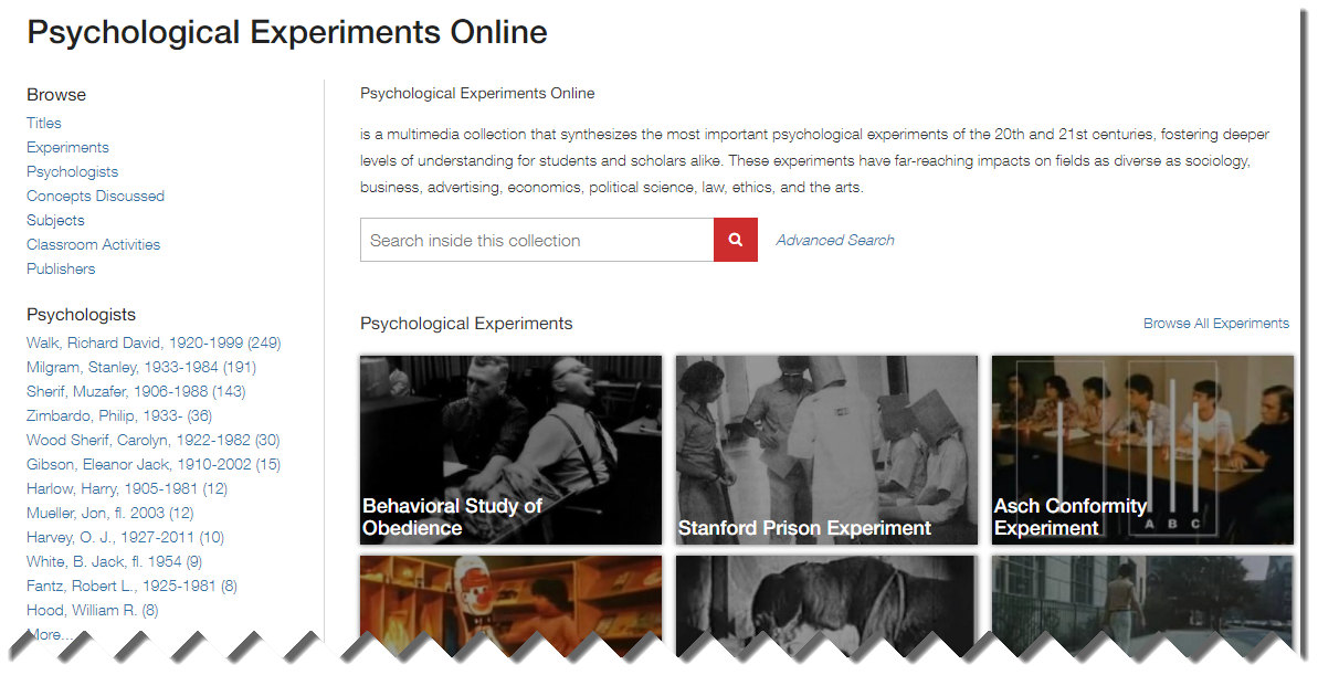 Image of experiment pictures on Psychological Experiments Online
