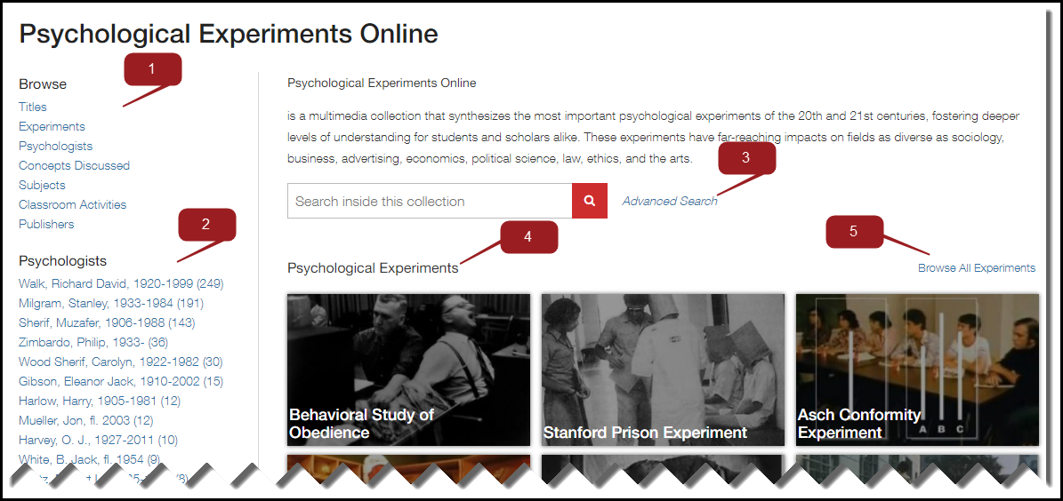 Image of Psychological Experiments Online search page