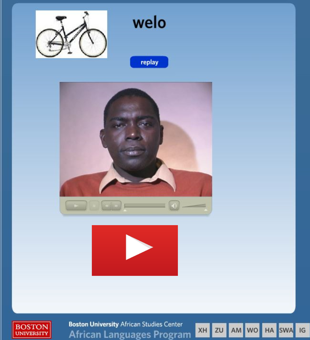 screen capture of the Wolof 200 words project