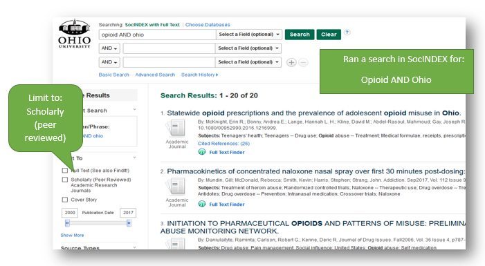 screen shot of EBSCO database to show where you can filter by scholarly journal