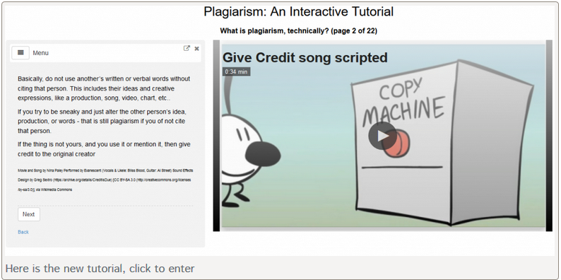 Interactive Plagiarism Tutorial - click to enter tutorial in new window