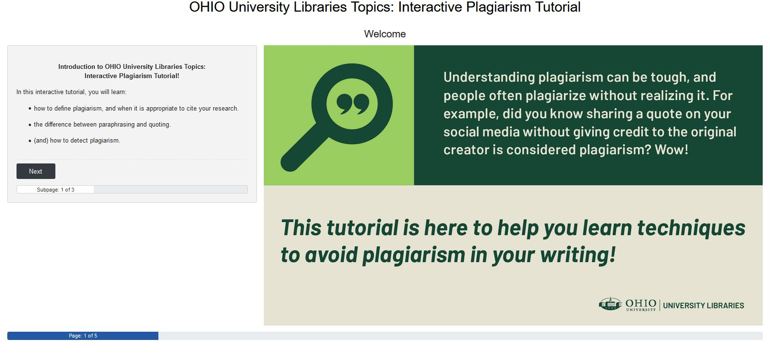 First slide of the interactive plagiaism tutorial. Please click to enter tutorial