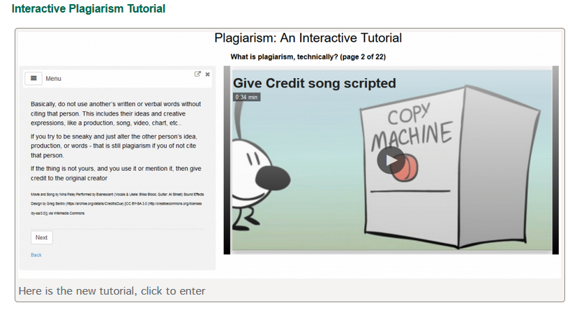 Click to enter the interactive plagiarism tutorial