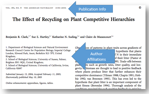 screenshot of a scholarly article pointing out the tips for evaluation. publication information and author affilaition