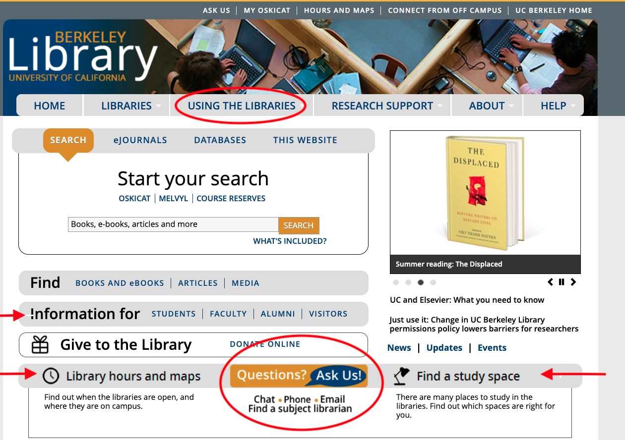 Library Home Page, annoated