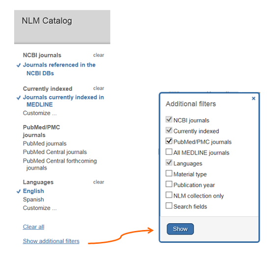 Screenprint shows Filters available on left side of NLM catalog search screen
