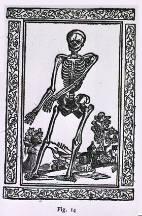 woodcut figure of skeleton from Latin text