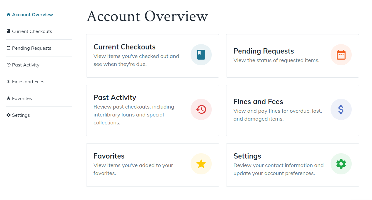 Screenshot of Account features such as checked out items, requested items, fines/fees, saved items, and settings.