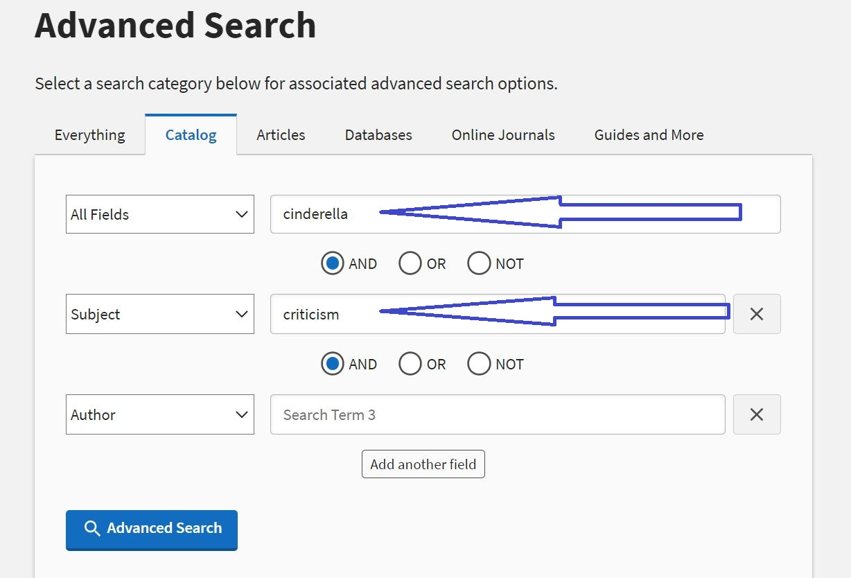 Title Specific Criticism Search in the Catalog