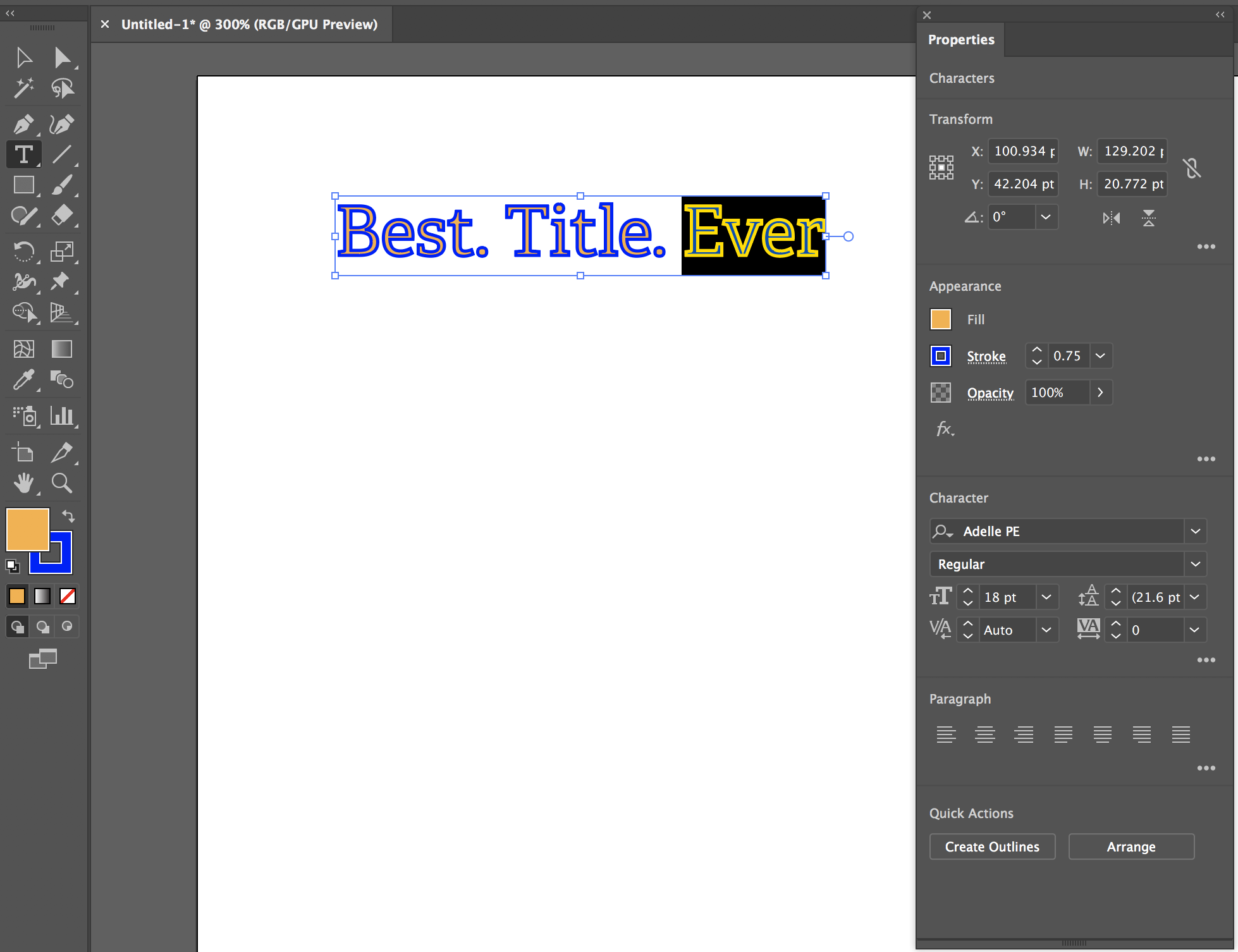 Image of the text properties menu open in Illustrator interface.