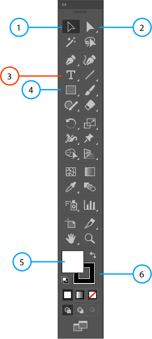 Illustrator toolbar with circle pointing towards type tool.