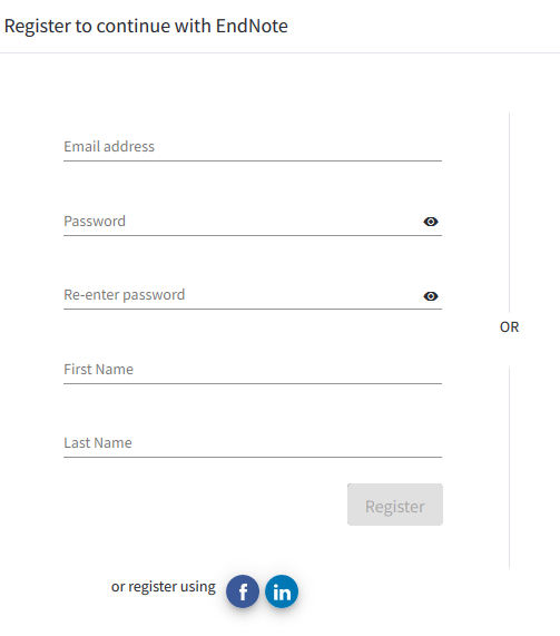 Register for account window