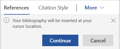 Image of message/Continue window for creating bibliographies in Mendeley.